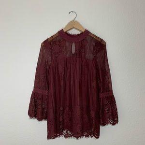 Violet lace quarter sleeve blouse